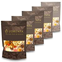 L'Orenta Gourmet Summer Sunset Fruit & Nut Mix: Diced Apricots, Diced Mango, Diced Pineapple, Banana Chips, Roasted & Salted Cashews, Natural Pecans