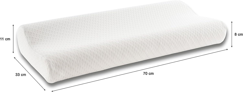 Seasons cervical70 - almohada cervical viscoelastica hilo de plata 70 cm, blanco