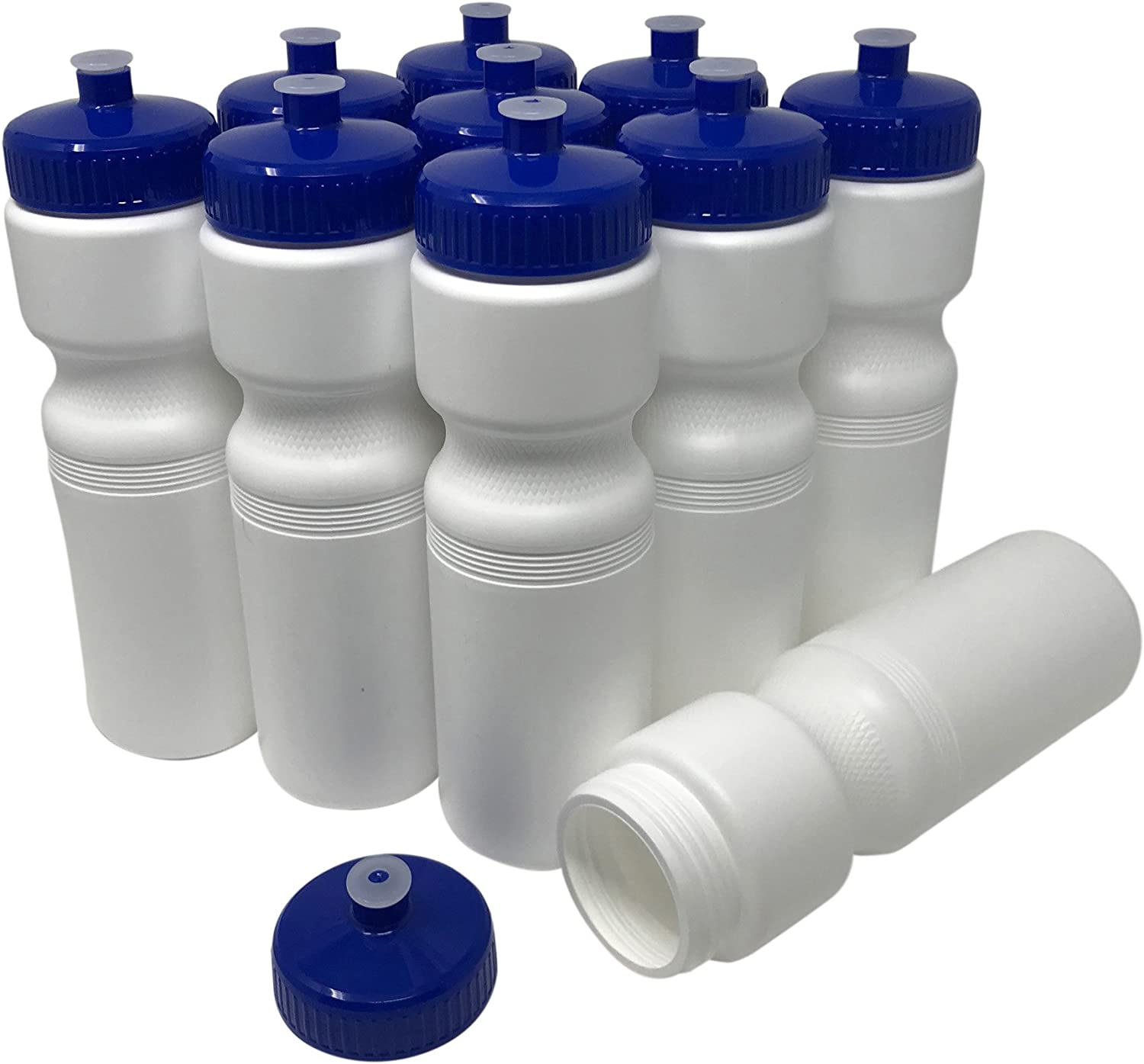 CSBD 28oz Sports Water Bottles, 10 Pack, Reusable No BPA Plastic, Pull Top Leakproof Drink Spout, Blank DIY Customization for Business Branding, Fundraises, or Fitness