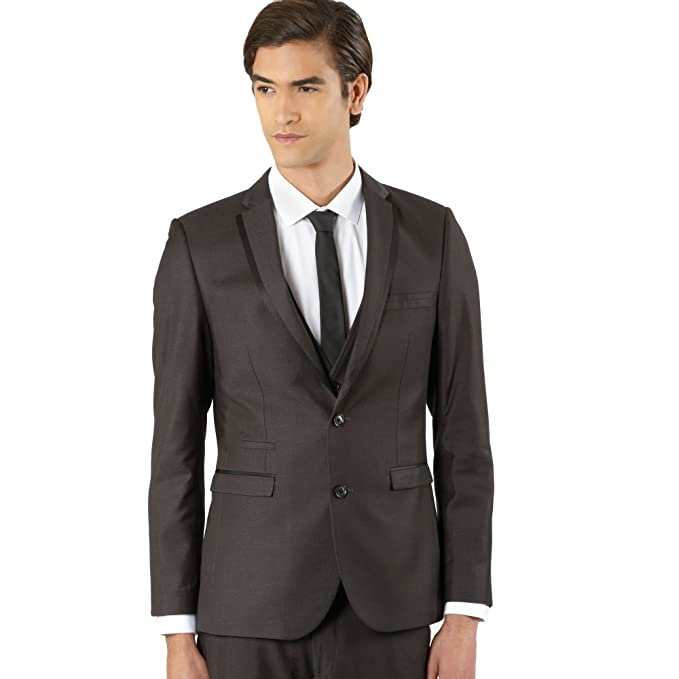Thomas para hombre Nash gris oscuro Split costura traje ...