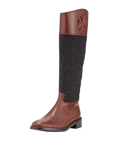 76d983671f7b Tory Burch Lowell 2 Logo Riding Boot Flannel Women s Shoes ...