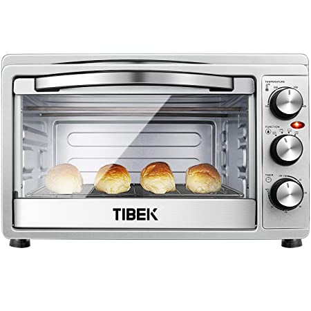 Toaster Oven 6 Slice Oven Toaster SpeedBaking, for Toast Bake Broil Function with 4 Heating Elements Intuitive Easy-Reach Toaster Oven Broiler Stainless Steel Toaster Oven,Silver Black
