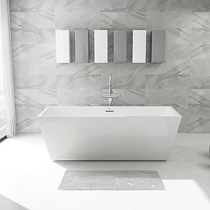 FerdY 67u0027u0027 Acrylic Stand Alone Bathtub, White Modern Freestanding Bathtub  Soaking Bathtub,