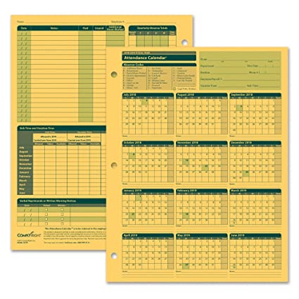 complyright fiscal year attendance calendar 2018 2019 pack of 50 a4200amz
