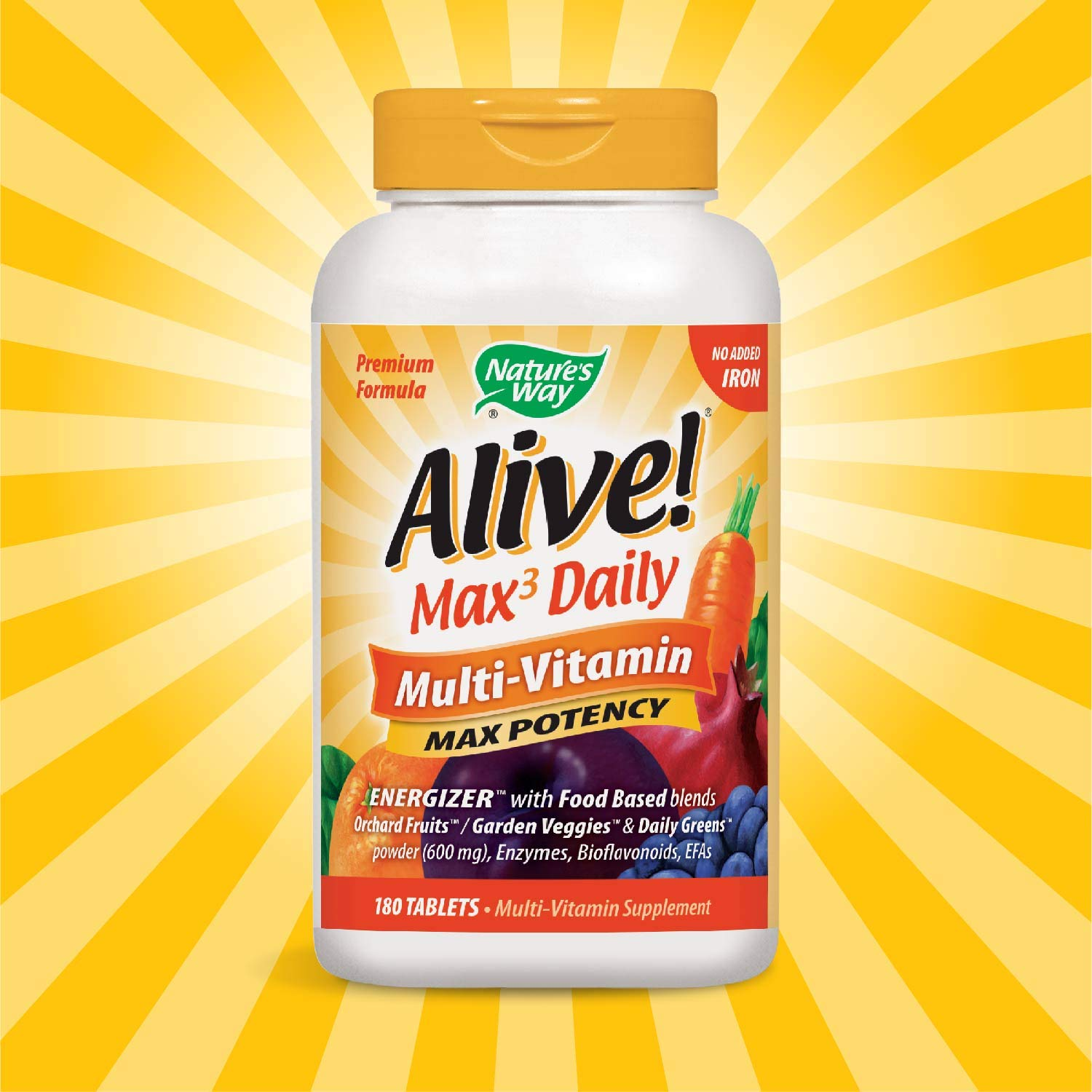 Nature s Way Alive Max3 Daily Adult Multivitamin, Food-Based Blends 1,060mg per Serving and Antioxidants, No Iron Added, 180 Tablets