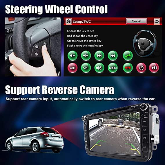 Unidad de cabezal de doble DIN de 8 pulgadas y 2 DIN estéreo para coche con reproductor de DVD CD compatible con GPS USB SD FM AM RDS Bluetooth SWC ...