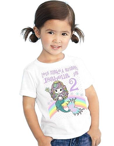 Amazon Com Personalized Mermaid Birthday T Shirt Girls Kids Youth