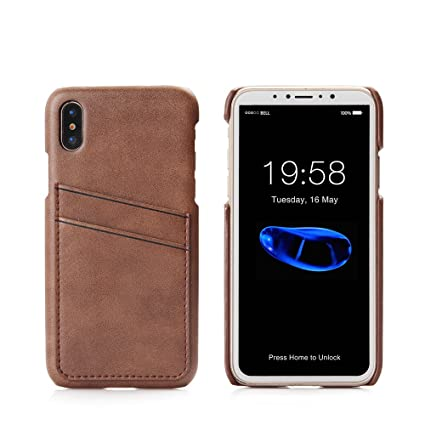 buy online 7eb7c b13ff iPhone X Card Case Minimalist Wallet iPhone 10 Case Leather Slim Credit  Card Slots ID Holder Protective Phone Cover for Apple iPhone X 5.8 inch ...