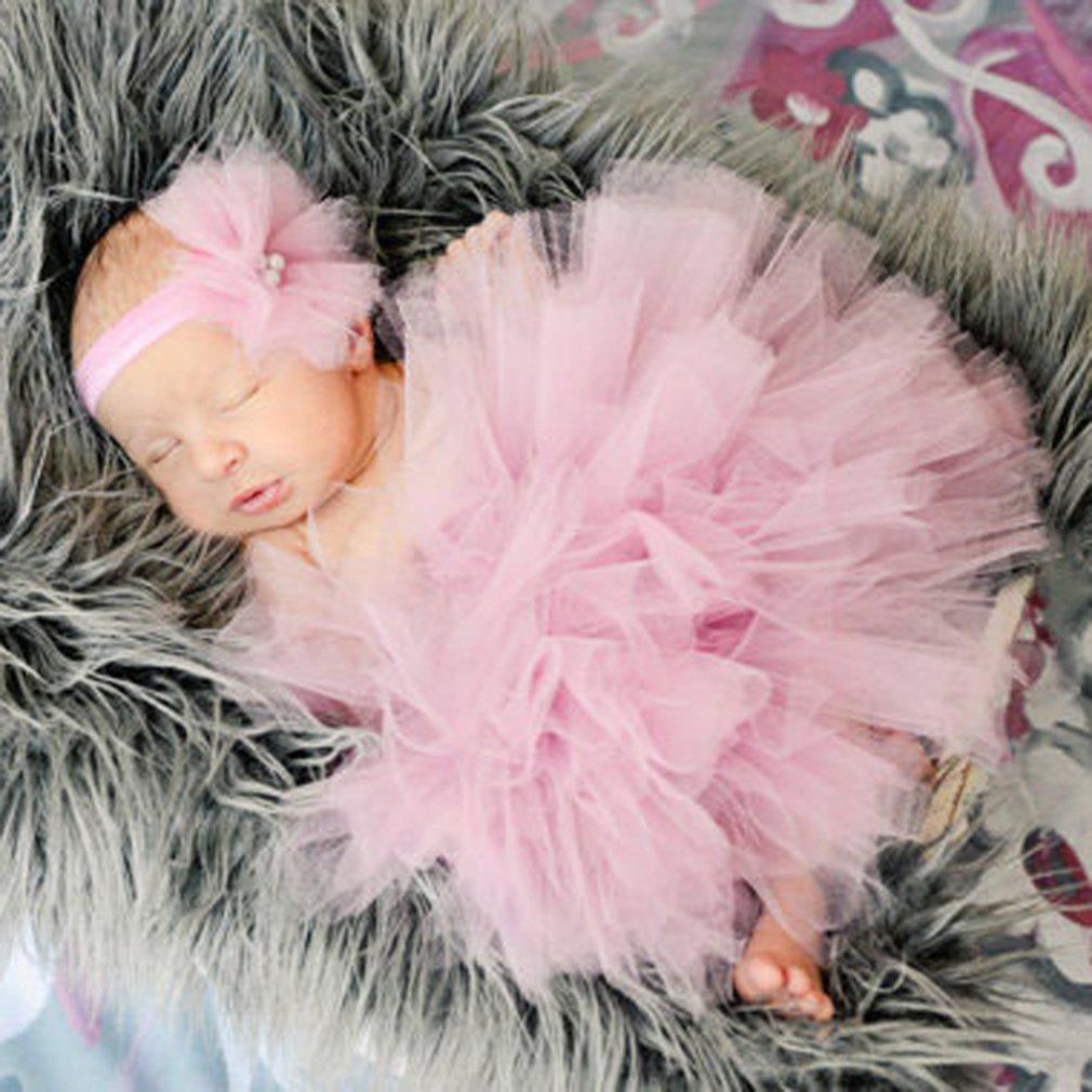 HENGSONG Foto Fotografie Outfits Baby Kostüm Tütü Rock Pettiskirt Mädchen Blumen Stirnband (Beige) mei_mei9 ME6952