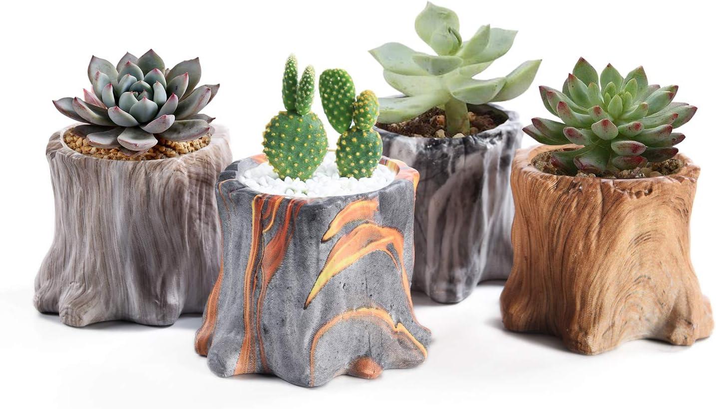 Succulent Planter Pots Small Ceramic Flower Cactus Pots Set 4 Pack Tree Stump Succulent Pots with Drainage Bonsai Pots 4.33 Inch Gift for Home Decor Indoor Outdoor