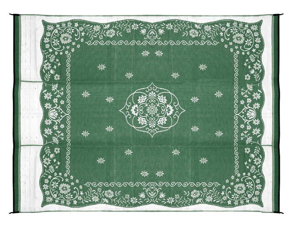 Camco 42850 Stuoia Reversibile per Esterni, 2.74m x 3.66m, Verde con Motivi Orientali