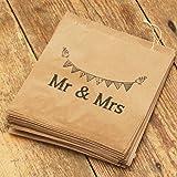 """Lot de 90 sacs en papier kraft marron Luck And Luck avec inscription """"Mr and Mrs"""" pourdragées de mariage/bonbons"""