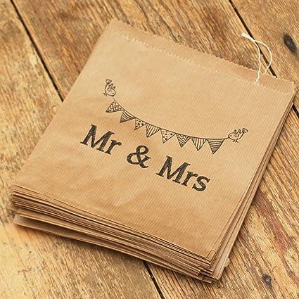Bolsas de papel para regalos de boda de Luck And Luck, 90 bolsas, color marrón
