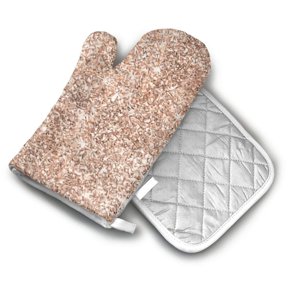 ECEED DAI Chic Rose Gold Glitter Pattern Oven Mitts with Potholders,Oven Gloves,Insulated Quilted Cotton Potholders