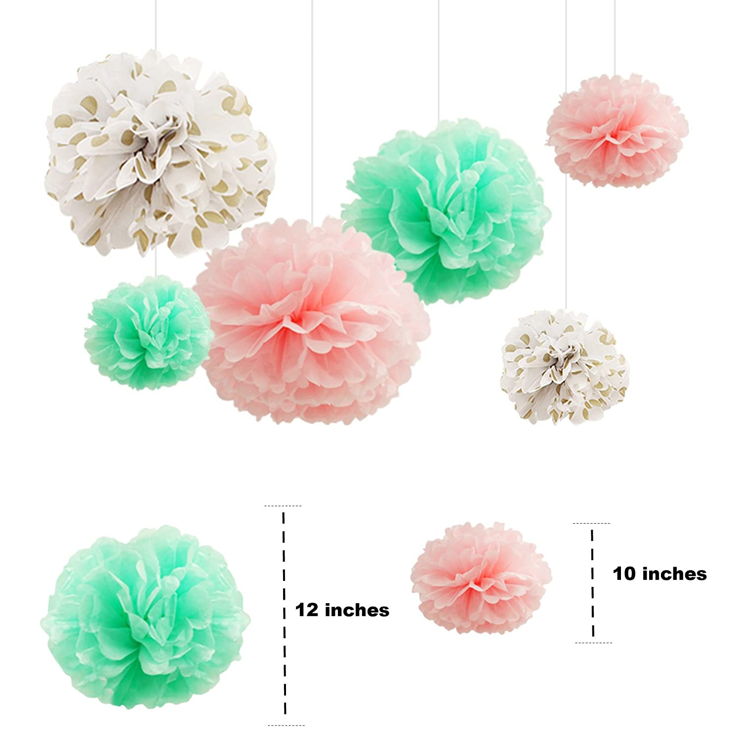 Amazon.com: Party Decoration Kit - Coral, Mint Green & Gold - Tissue ...
