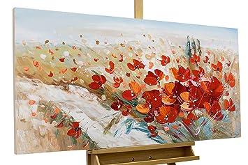 Handgemalte Bilder Auf Leinwand kunstloft acryl gemälde flammende blüten 120x60cm original