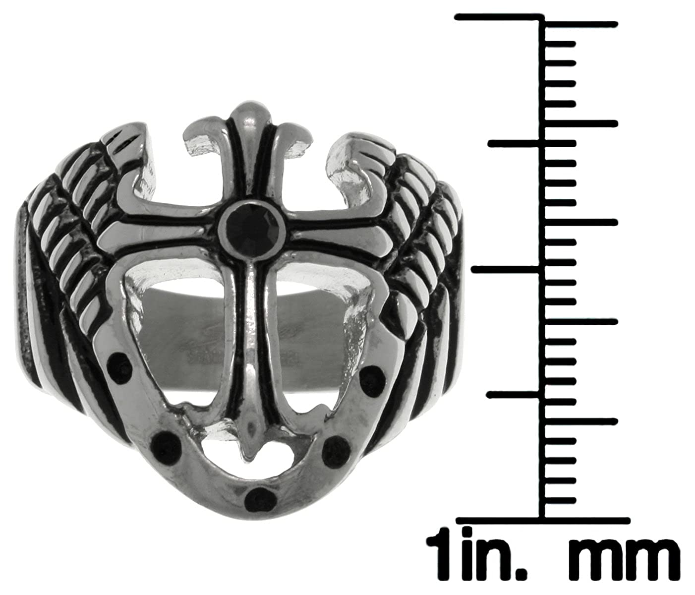 Jewelry Trends Stainless Steel Cross with Shield and Wings Wide Band Ring Size 11
