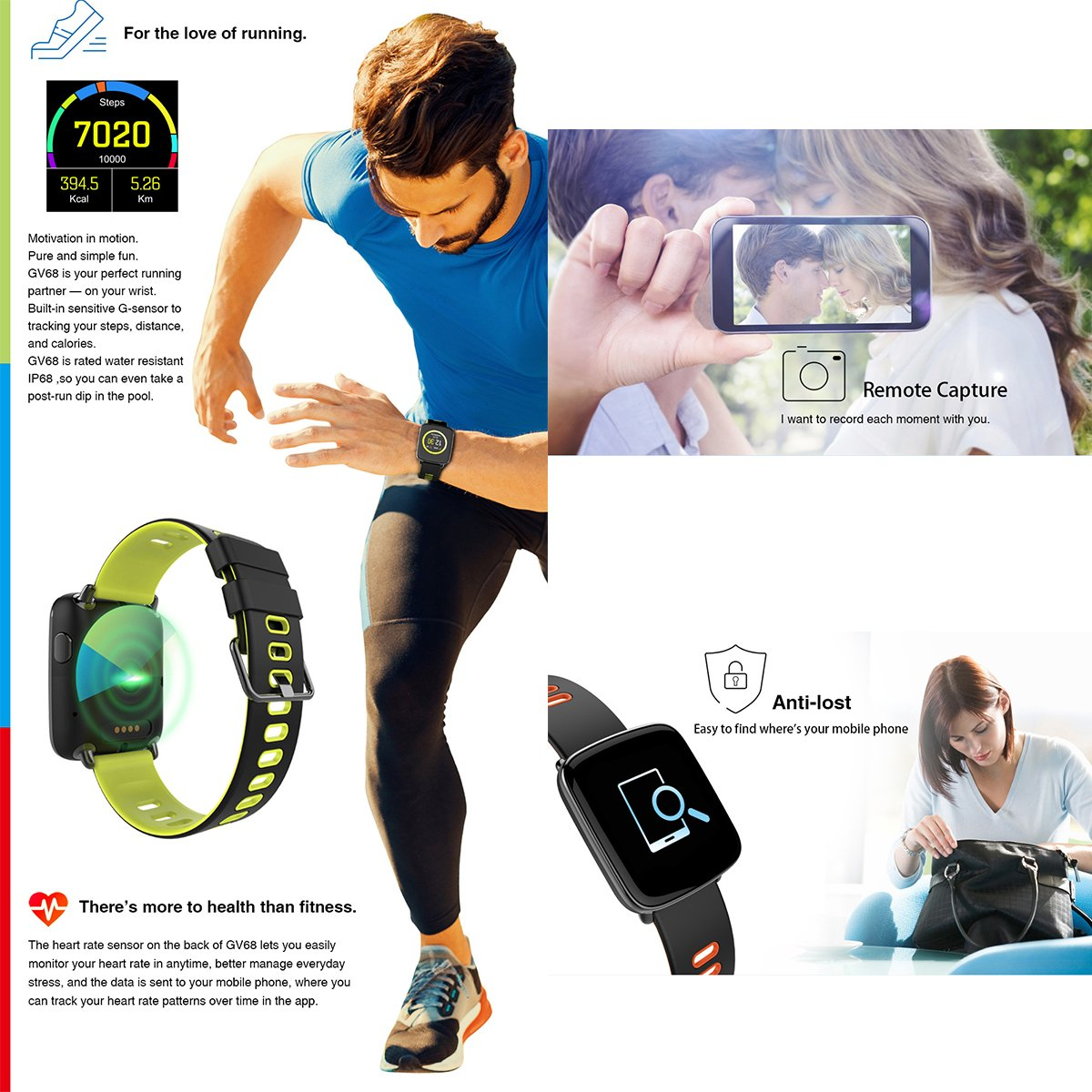 Oak Waterproof Fitness Smart Watch with Notification Synchronization, Heart Rate Monitor, Sleep Monitor, Pedometer for iOS and Android Smartphones ...