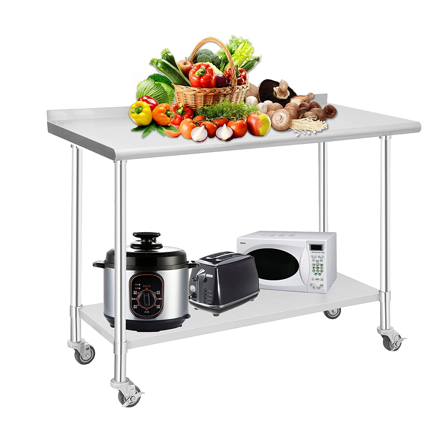 HOCCOT Stainless Steel Prep & Work Table with Adjustable Shelf, with Backsplash and Wheels, Kitchen Island, Commercial Workstations, Utility Table in Kitchen Garage Laundry Room Outdoor BBQ, 24