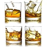 BIGA Whiskey Rocks Glasses with Heavy Base and Lead-Free Crystal for Vodka Bourbon Whisky Scotch Liquor 12oz set of 4