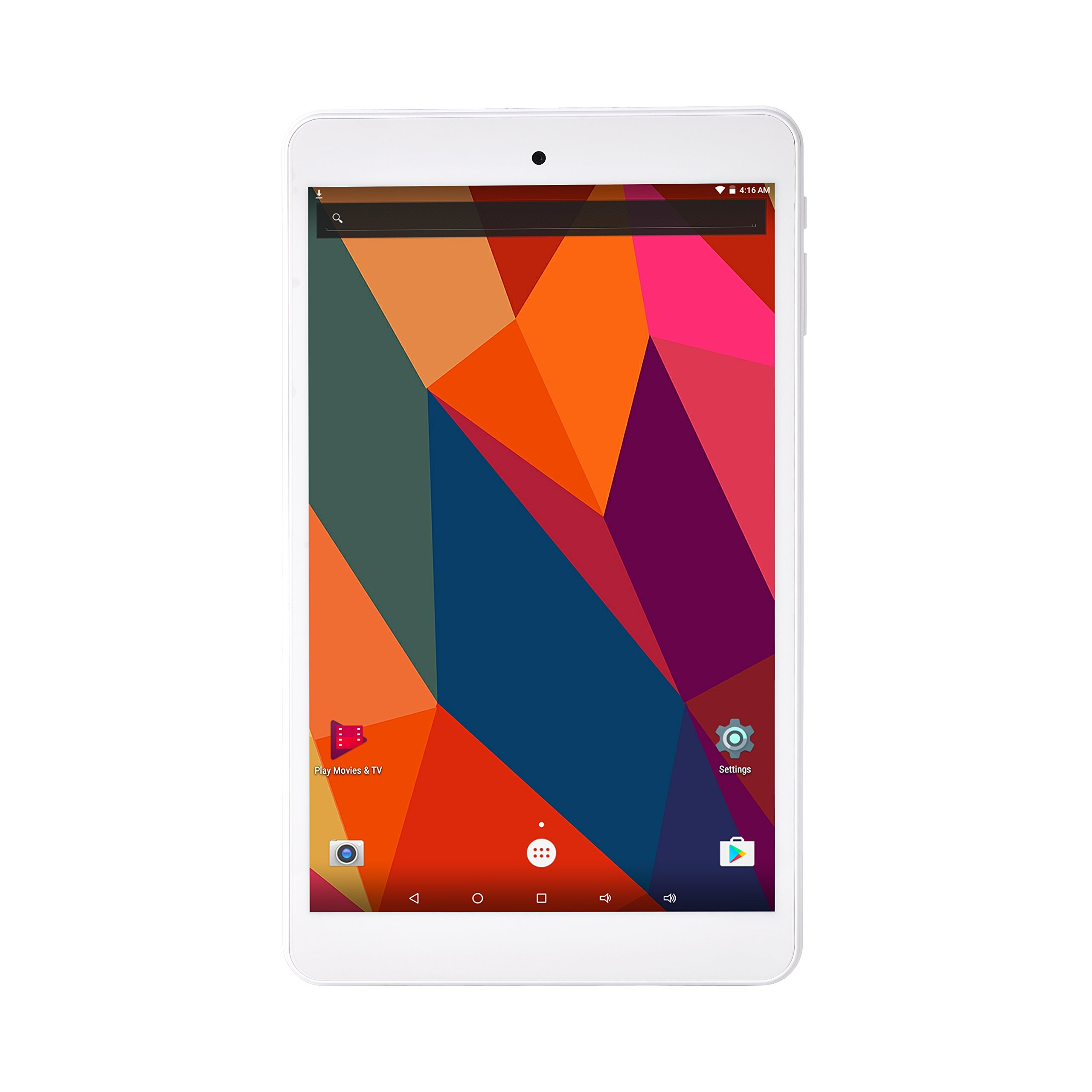 8 inch Android Tablet Quad core Cortex A53, 1GB RAM, 16GB Storage, HD 1280x800 IPS Display, Dual camera 2.0MP + 5.0MP, Android 6.0, Wifi, Bluetooth 4.0, GPS, FM (white)