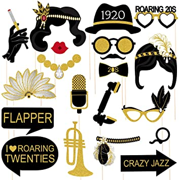 Amosfun 20pcs Années 1920 Photo Booth Props Roaring 20s
