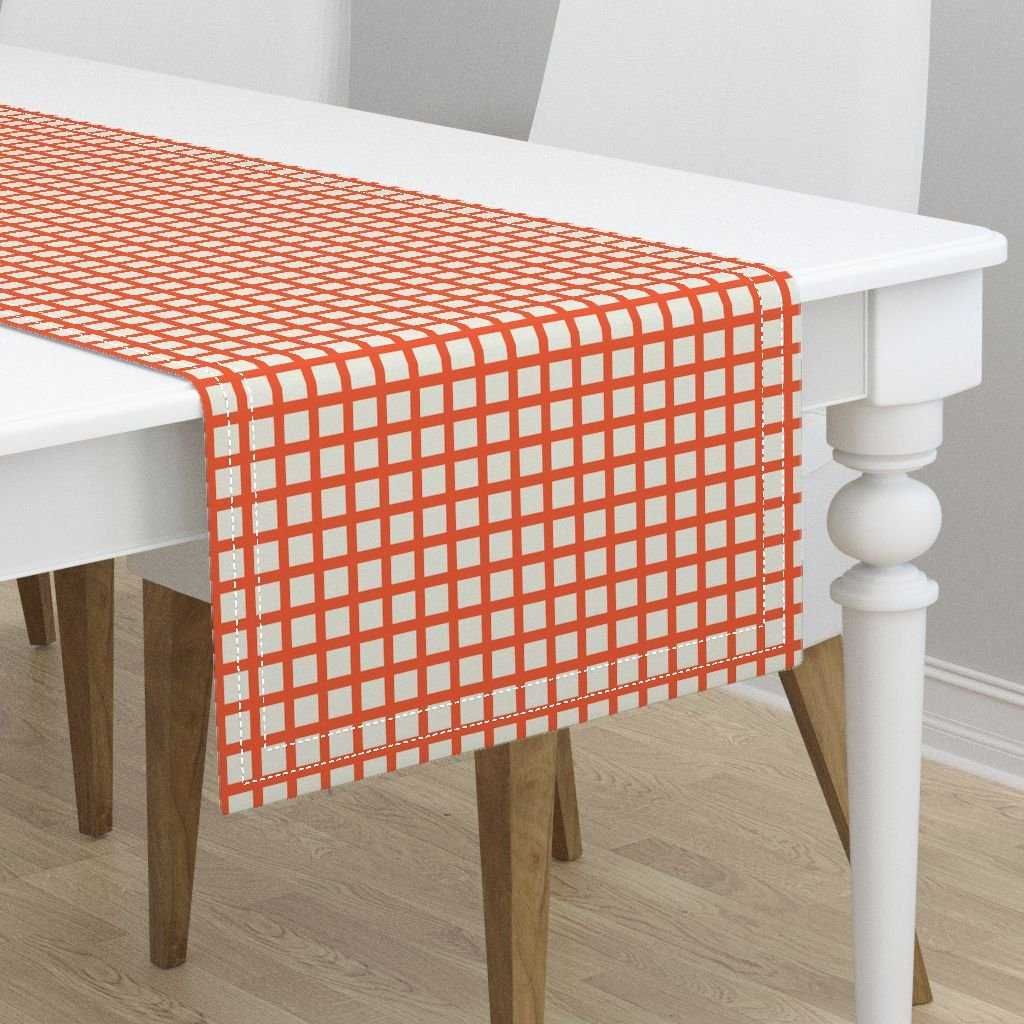 Table Runner - Marquise Orange Cosmic Latte Gingham Check Grid Windowpane by Peacoquettedesigns - Cotton Sateen Table Runner 16 x 108