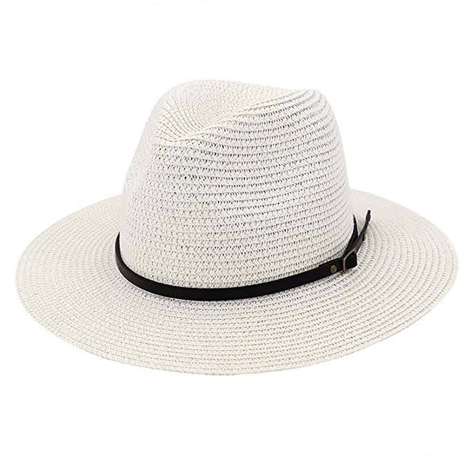 66a2403af3f Summer Women Straw Braided Sunhat Holiday Sun Hat Topee Sun Cap Wide Brim  Cowboy Hat Travel Outdoor Casual White at Amazon Women s Clothing store