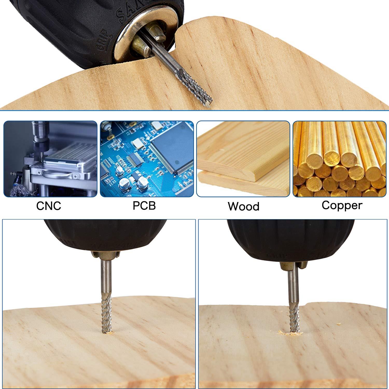 Hakkin Lot de 25 forets /à spirale en carbure de tungst/ène 0,5 mm 3,5 mm PCB pour fibre de carbone et bois dur Argent/é