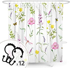 DESIHOM Floral Shower Curtain Flower Shower Curtain Plant Shower Curtain Botanical Watercolor Shower Curtain Fall Wildflower Shower Curtain Garden Colorful Polyester Waterproof Shower Curtain 72x72