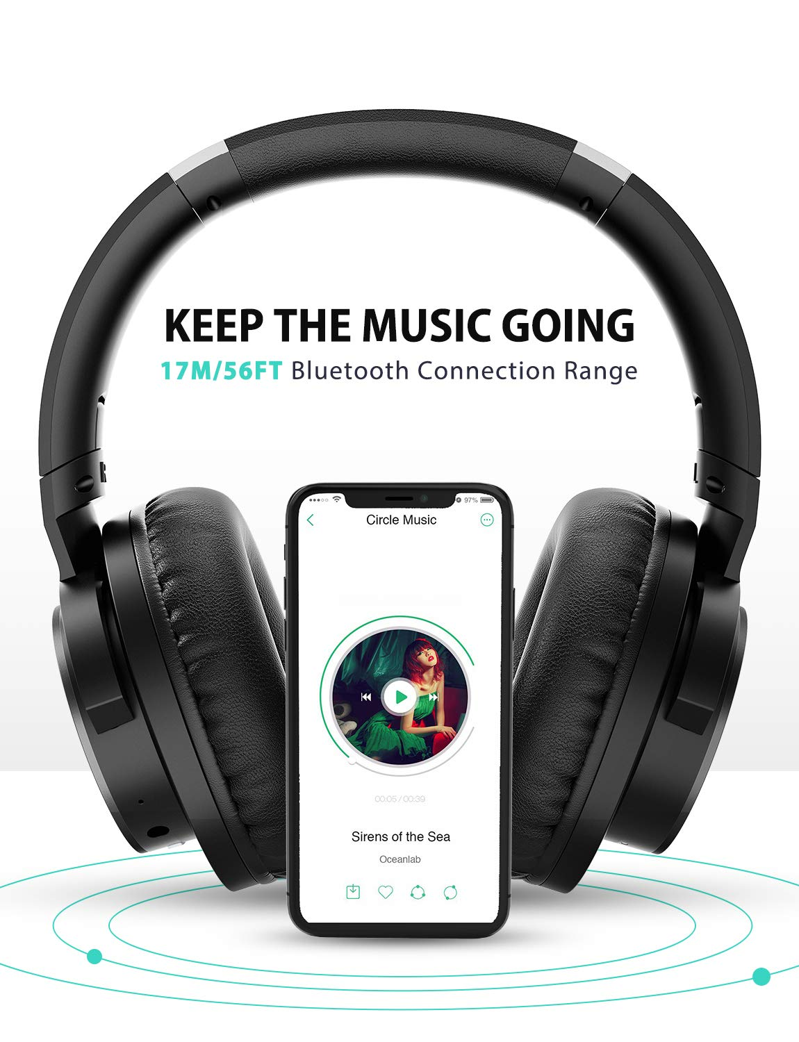 Mpow [Update] Active Noise Cancelling Headphones, 50 Hours Playtime with Hi-Fi Deep Bass, ANC Over Ear Bluetooth Headphones with Mic, Foldable Wireless Headset for Travel Work TV Cell Phone/PC by Mpow (Image #5)