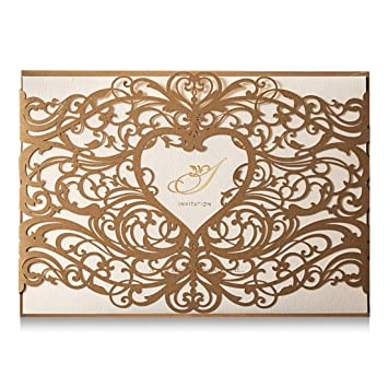 amazon com wishmade gold heart laser cut wedding invitations cards
