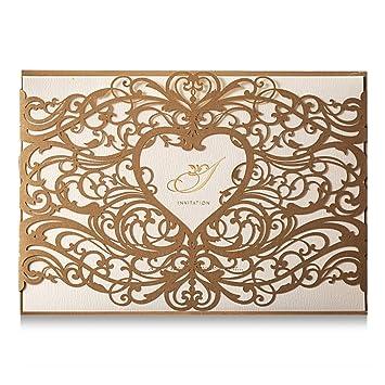 Amazon Com Wishmade Gold Heart Laser Cut Wedding Invitations Cards