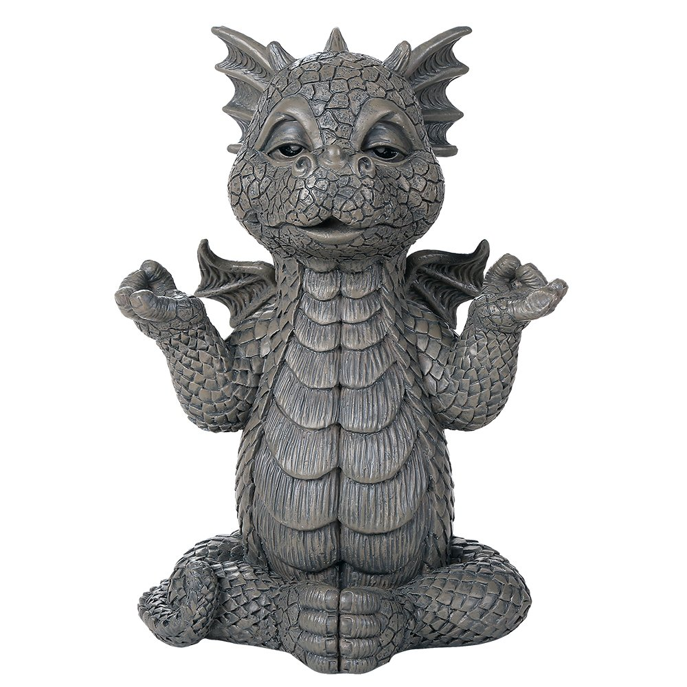 Pacific Giftware Garden Dragon Meditation Inner Peace Yoga Decorative Garden Accent Sculpture Stone Finish 10 Inch Tall