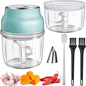 Electric Mini Garlic Chopper, Kingacc Portable Multi-Function Food Processor Slicer,USB Rechargeable Garlic Blender Mini Chopper Food Processor For Pepper Chili Vegetable Onion Meat(230ml+150ml)