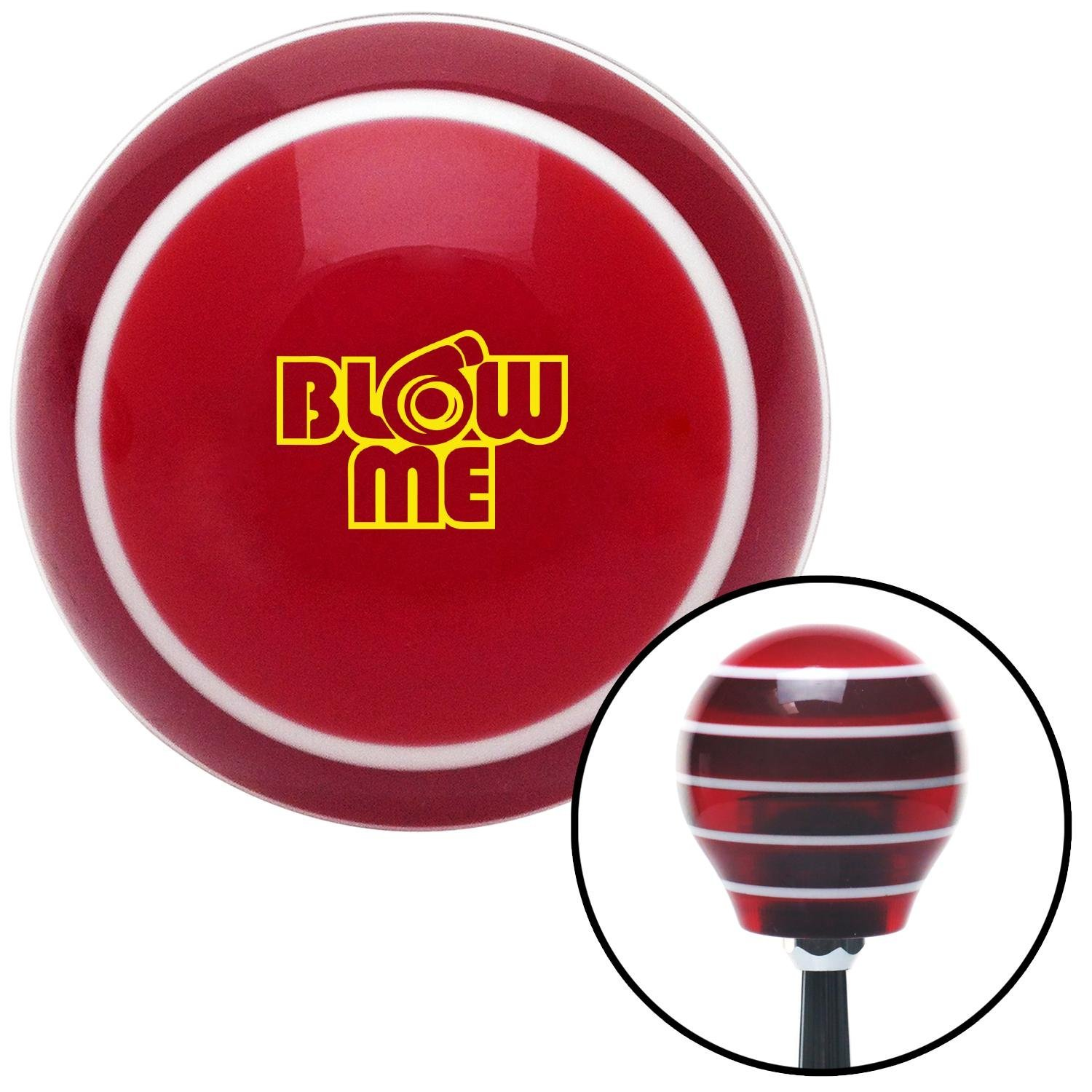 Yellow Blow Me Red Stripe with M16 x 1.5 Insert American Shifter 274480 Shift Knob