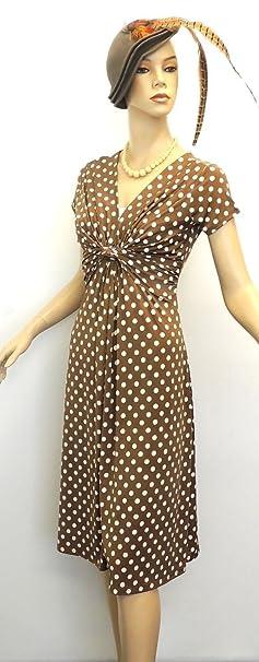 Damen Teekleid Deko Gepunktet Vintage Retro WW2 Landmädchen 1940s/50s Pin-up,  Braun, UK 16: Rosa Rosa: Amazon.de: Bekleidung