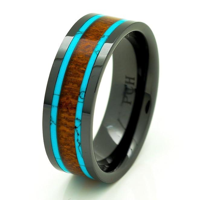 Men S Koa Wood Wedding Band With Turquoise 8mm Flat Top Black