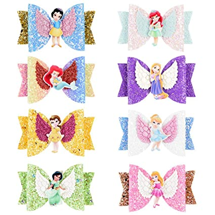 Princess Sparkly Hair Clips Cute Bows 3in Wide 8 Pieces Included
