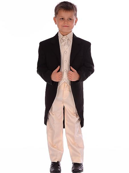 Robe De Veste Bal 5pc Queue Costume Noire Tenue Crème Garçons nW1q4Ux