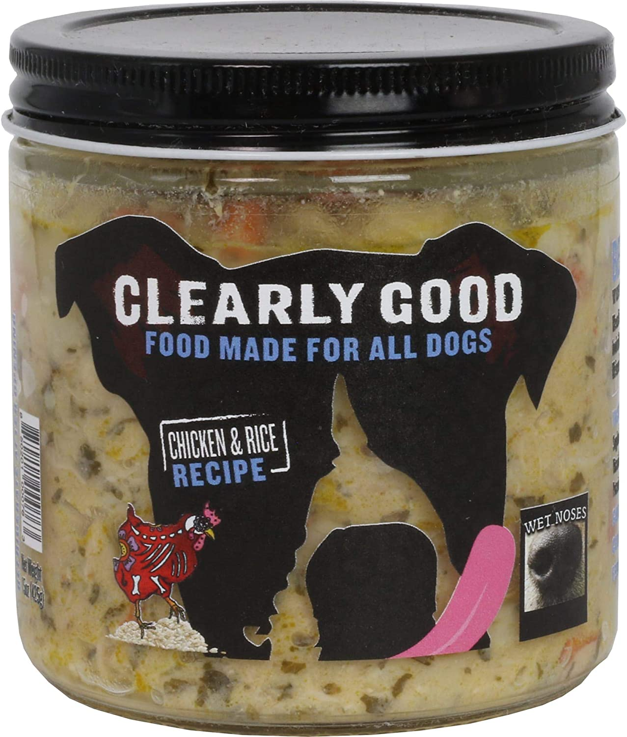 Wet Noses Clearly Good Wet Dog Food – for All Pet Sizes, Breeds – All-Natural Wet Dog Food – Delicious Organic Food for Dogs – Allergen-Free Puppy Food – 15 Oz. Jar - Chicken & Rice