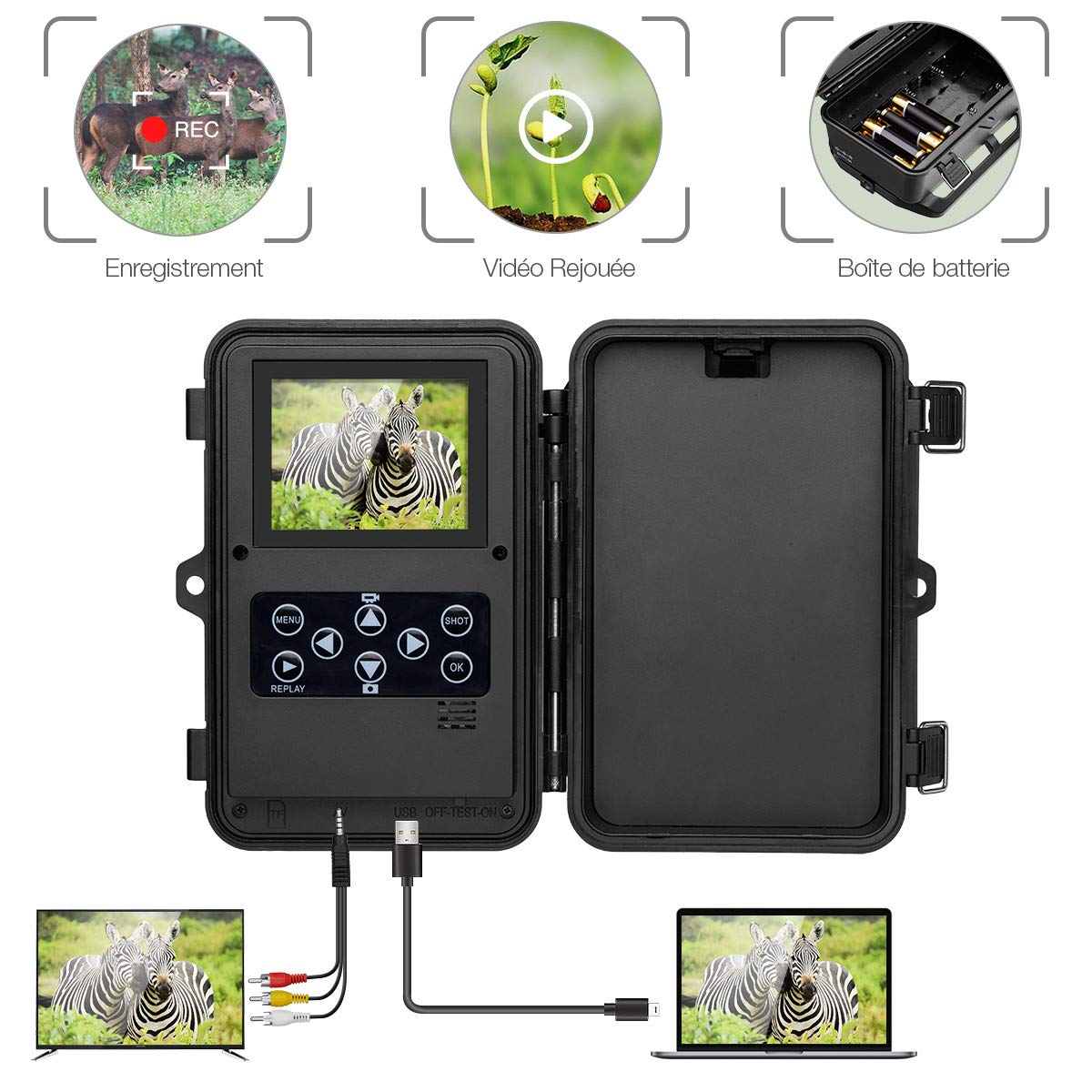 Powerextra Caméra de Chasse 1080P 16MP IP66 Grand Angle 42 IR LED Détection 120°Caméra Surveillance des Animaux avec Infrarouge Vision Nocturne Écran de LCD 6cm jusqu'à 20m (Vert Foncé)