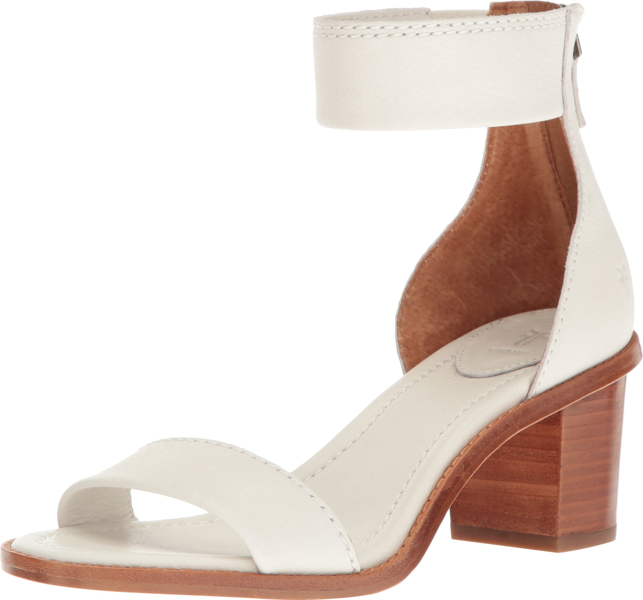FRYE Women's Brielle Back Zip Dress Sandal, White, 7 M US