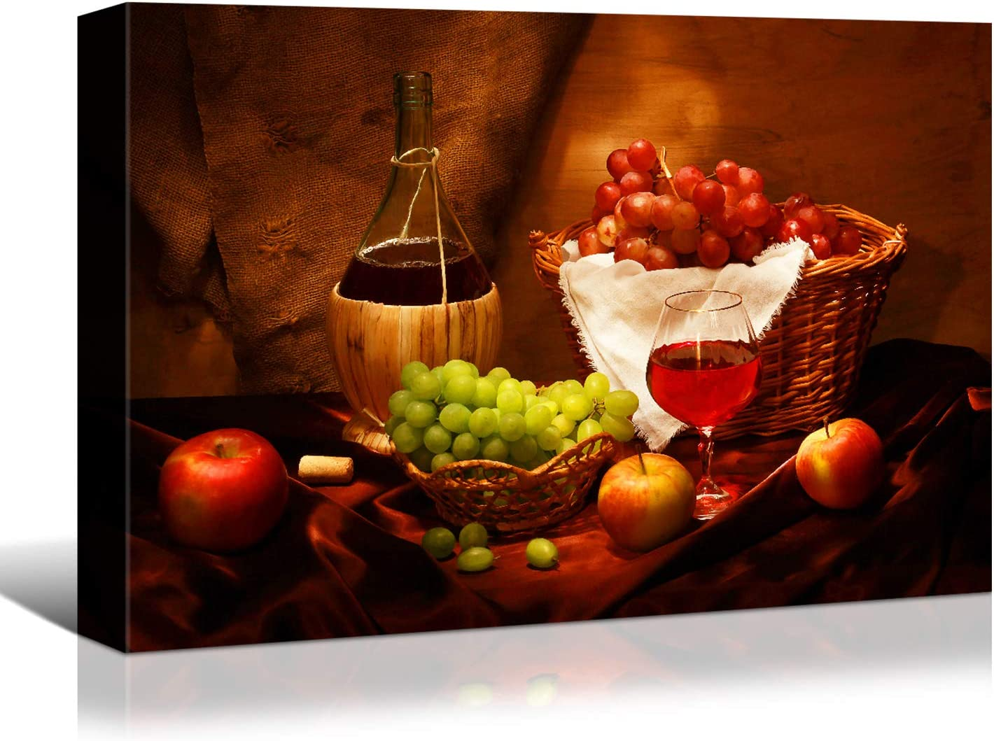 Denozer - Kitchen Prints Wall Art Canvas Artwork Fruits Grapes Wine Bottle Foods Canvas Painting for Dining Room Wall Decor Home Decoration- 18x12 inches