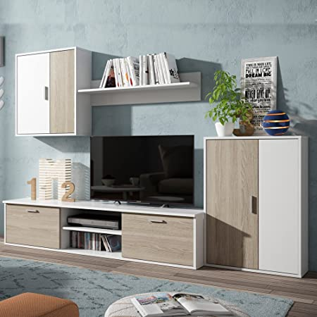 Fabri-Kit - S70450. Set modular de muebles decorativos perfecto para salones (set para televisores). Material: madera. Color: blanco: Amazon.es: Hogar
