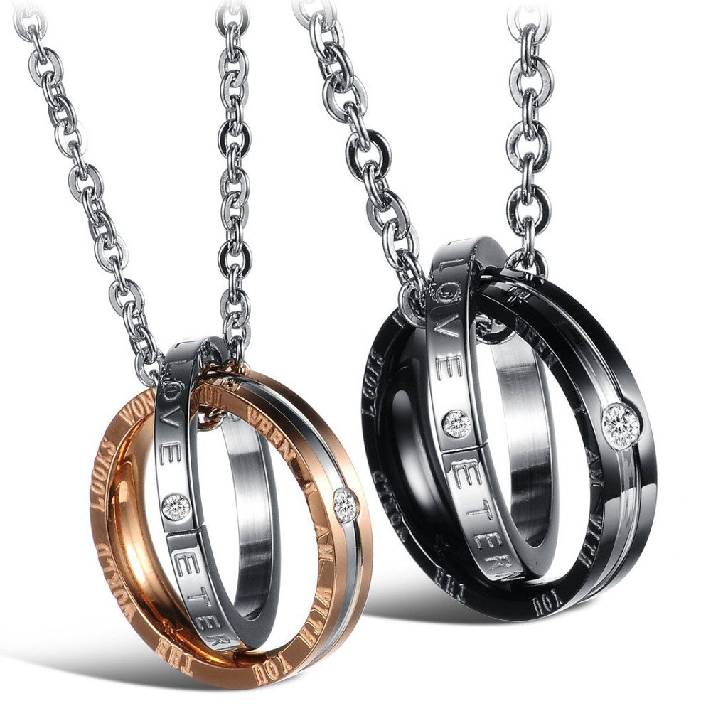 Feraco Couple Necklace His Her Titanium Steel Engraved Ring Pendant Necklaces Long Chain Matching Set