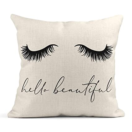11d29eb7183 Tarolo Throw Pillow Covers Lash Closed Eye Long Lashes Beautiful Eyelashes  Tee Slogan Eyelash Beauty Linen