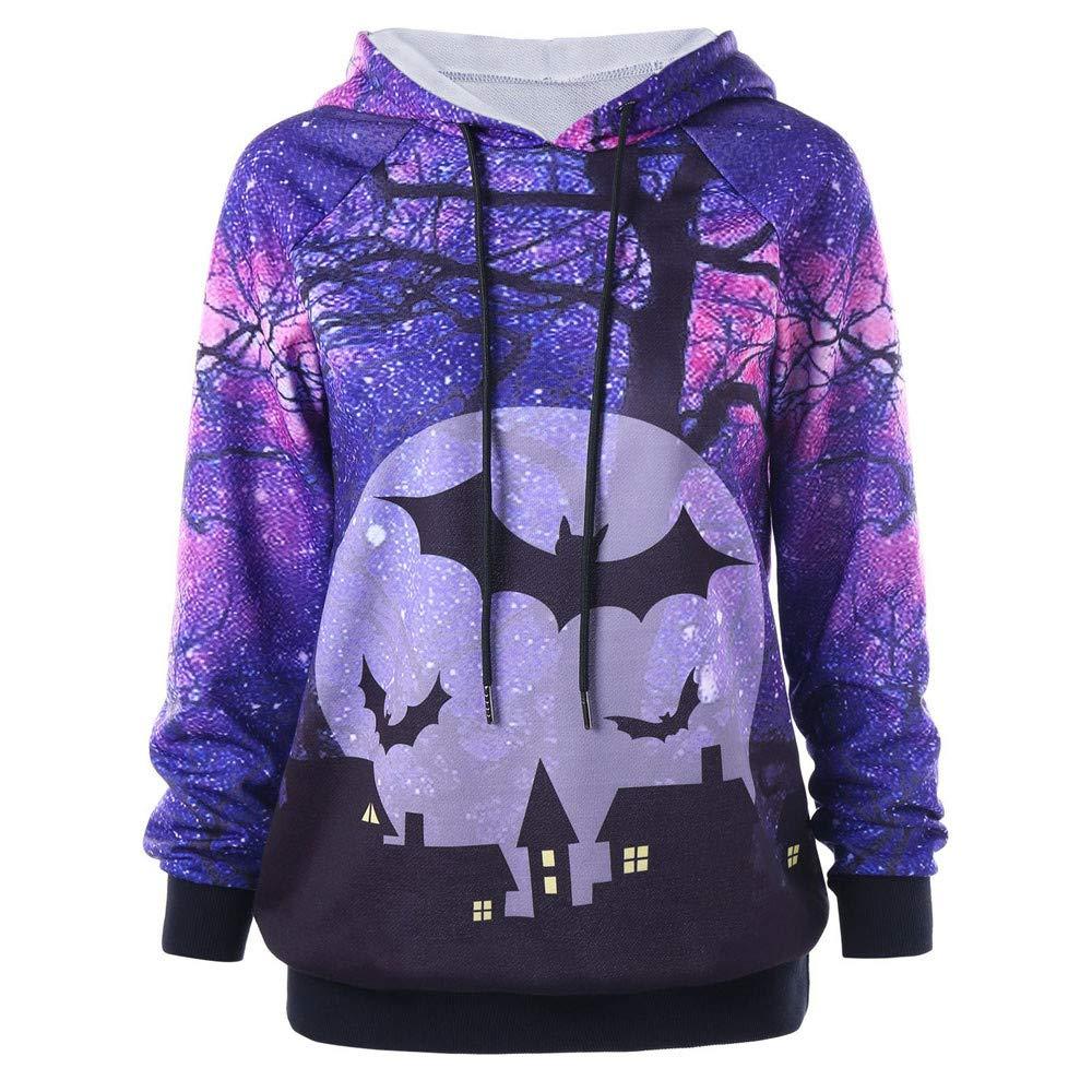 Womens Halloween Hoodies Printed Bat Jack Sweatshirt Cosplay Pullover Drawstring Hoodie Sweatshirt Tops (L, Purple)