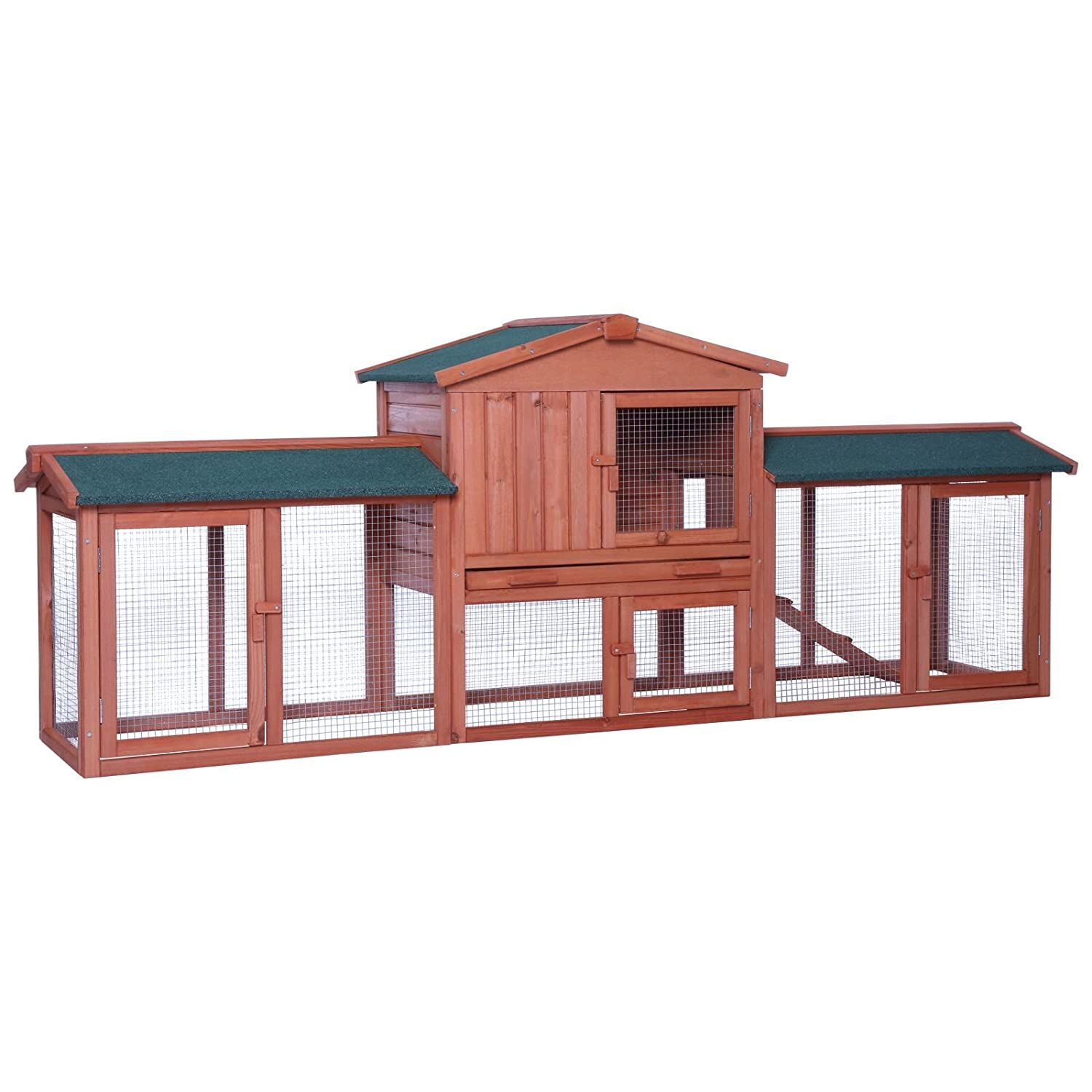 Dibea RH10241 XL Rabbit Hutch 223 x 52 x 85 cm (W x D x H, Brown, Premium Double Hutch for Rabbits, Guinea Pigs Dwarf Rabbits, Weatherproof, Roof