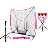 PowerNet 7x7 DLX Practice Net + Deluxe Tee + Ball Caddy + 3 Pack Weighted Ball + Strike Zone Bundle   Baseball Softball Coach Pack   Pitching Batting Training Equipment Set   7' x 7'